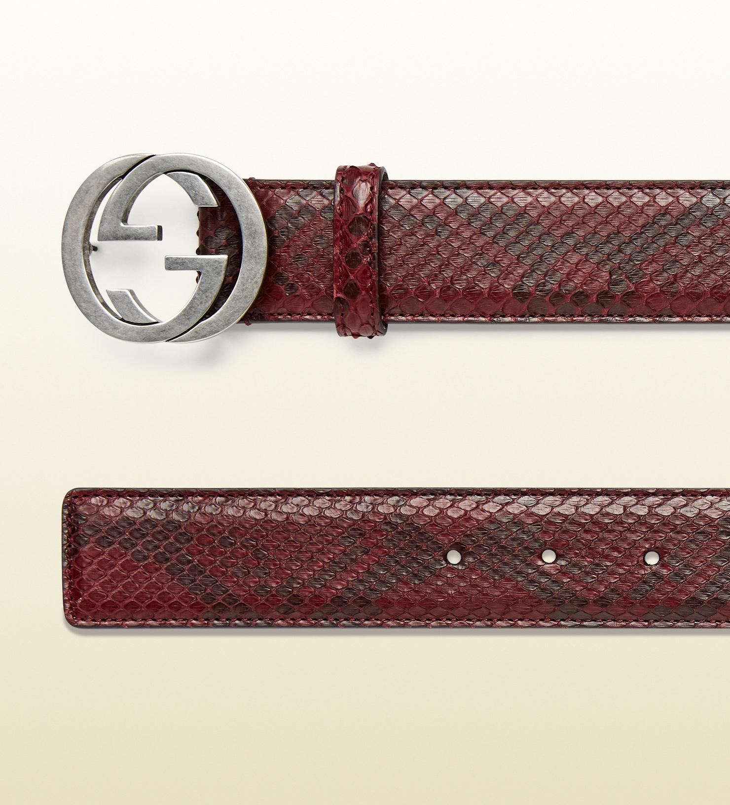 9864edbc761a Gucci Python Belt With Interlocking G Buckle in Red - Lyst