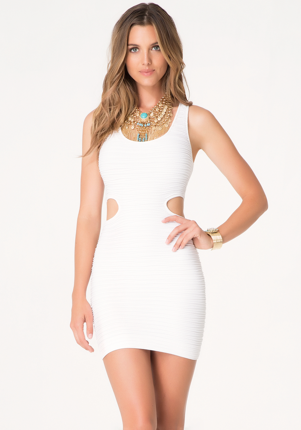 Bebe Cutout Bodycon Tank Dress In White Lyst
