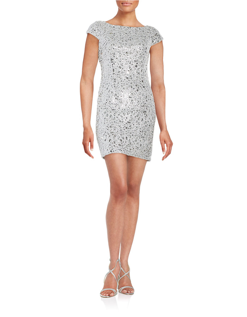 adrianna papell sequined lace cap sleeve sheath dress in