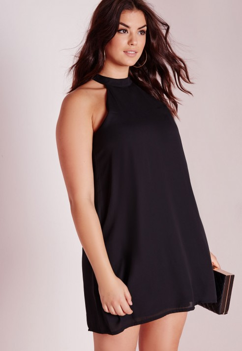 Missguided Plus Size High Neck Crepe Swing Dress Black in Black   Lyst