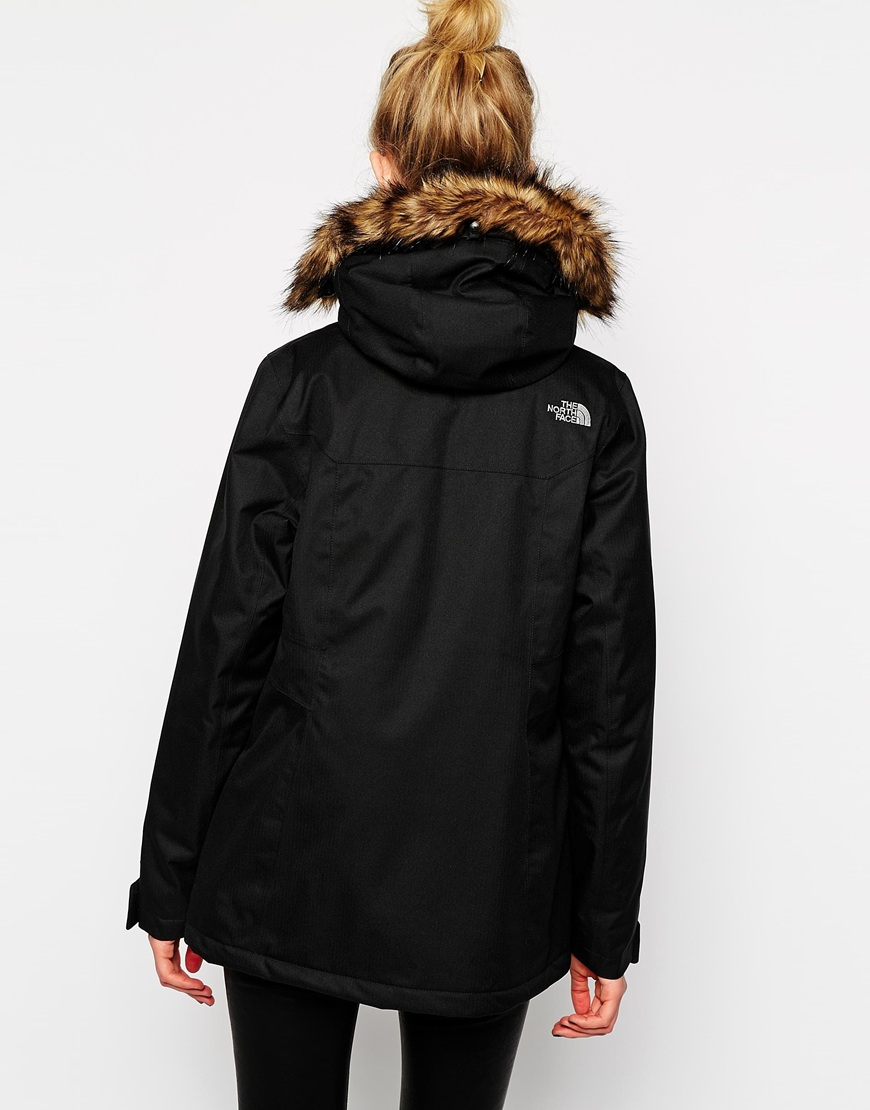 0530947e3e Lyst - The North Face Mountain Coat With Faux Fur Trimmed Hood in Black