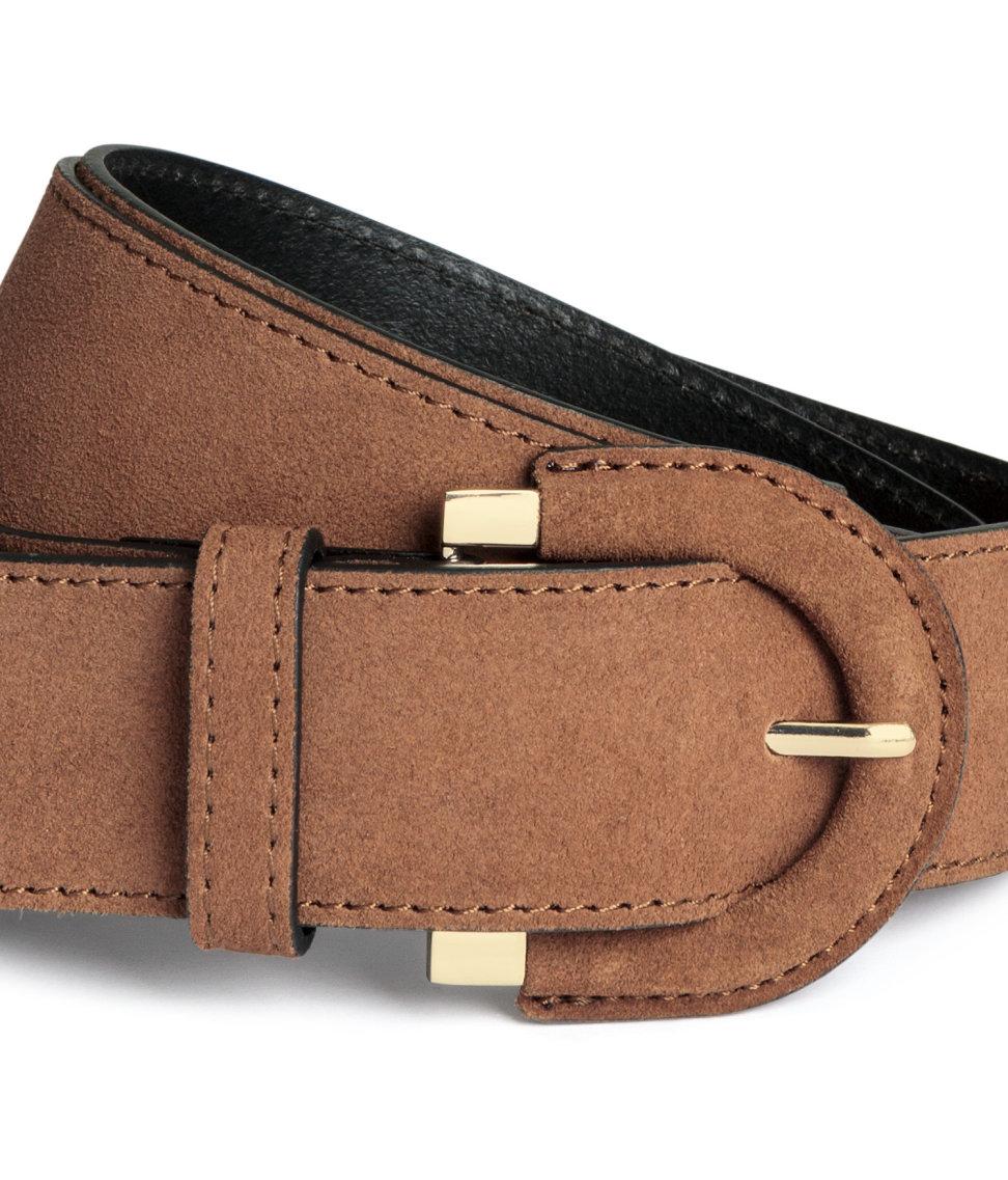 h m wide suede belt in brown lyst