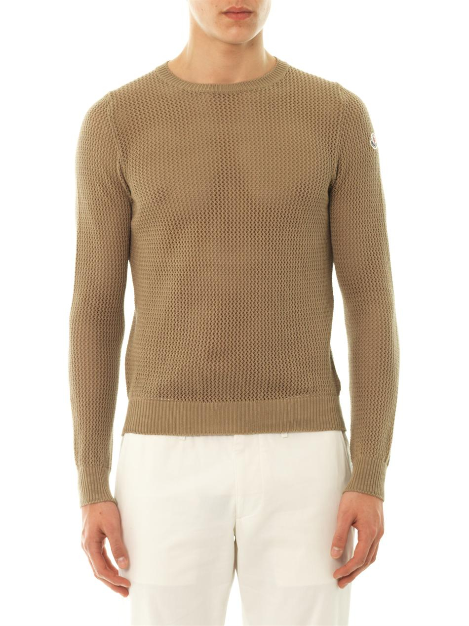 Moncler Meshknit Cotton Sweater in Brown for Men | Lyst