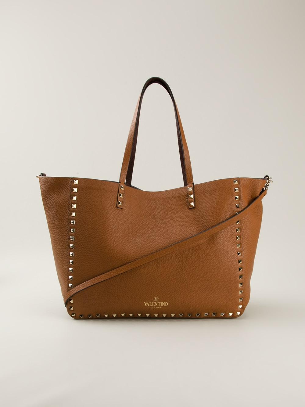 Lyst Valentino Rockstud Shopper Tote In Brown