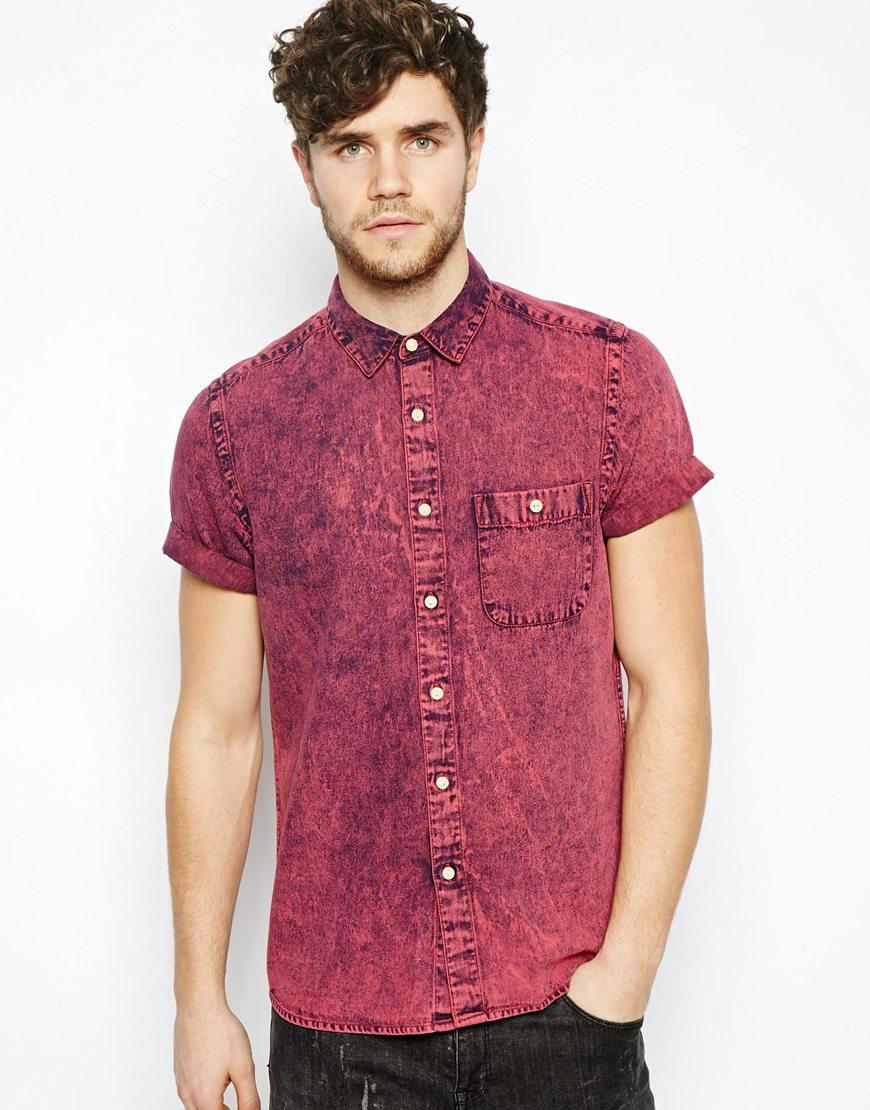 Asos Denim Shirt in Short Sleeve with Acid Overdye in Red for Men ...