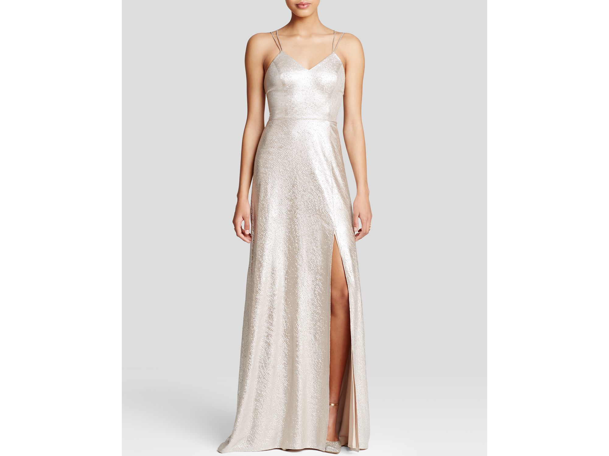 Lyst - Abs By Allen Schwartz Gown - Sleeveless Metallic Slip in Metallic