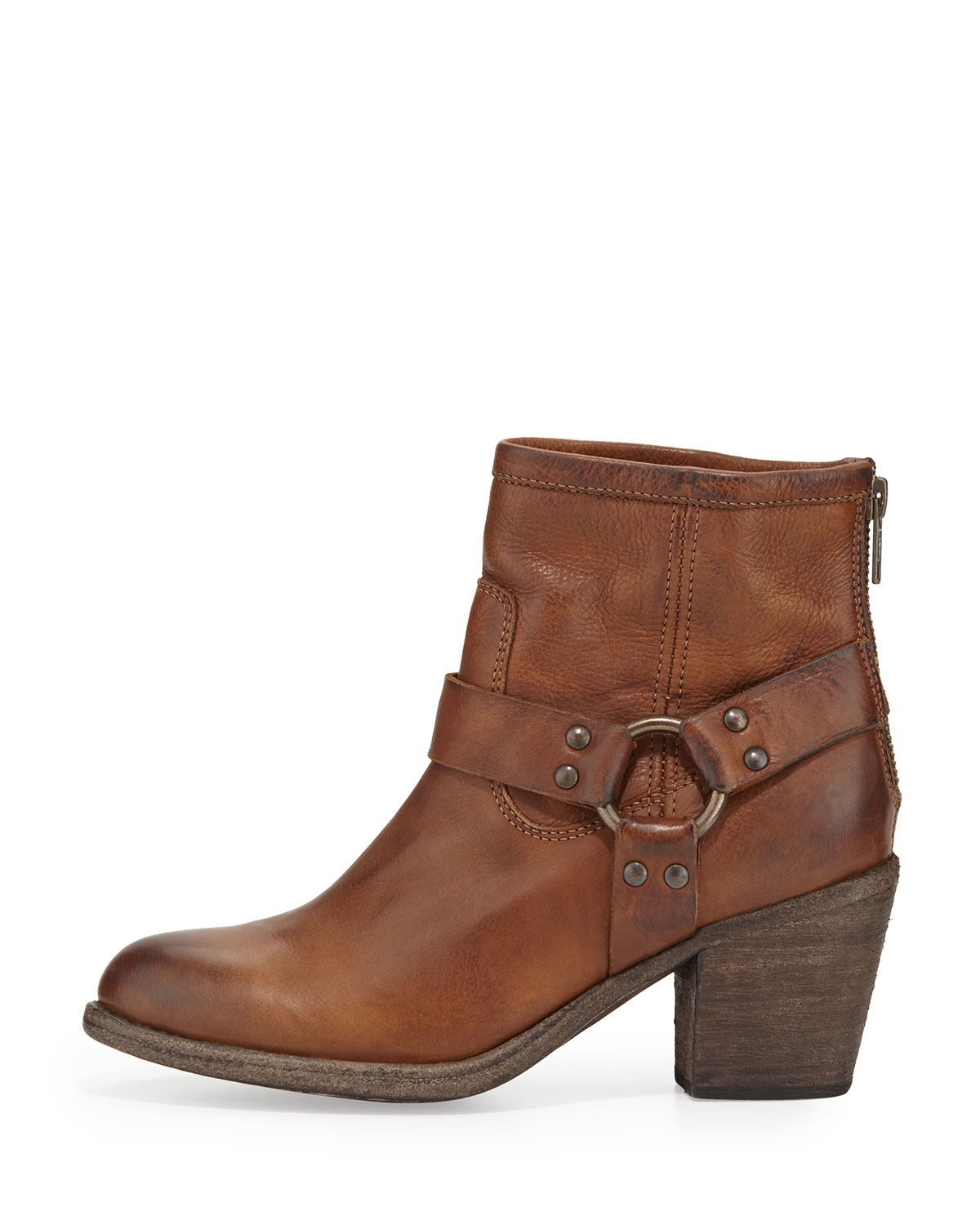 frye leather harness ankle boot in brown cognac