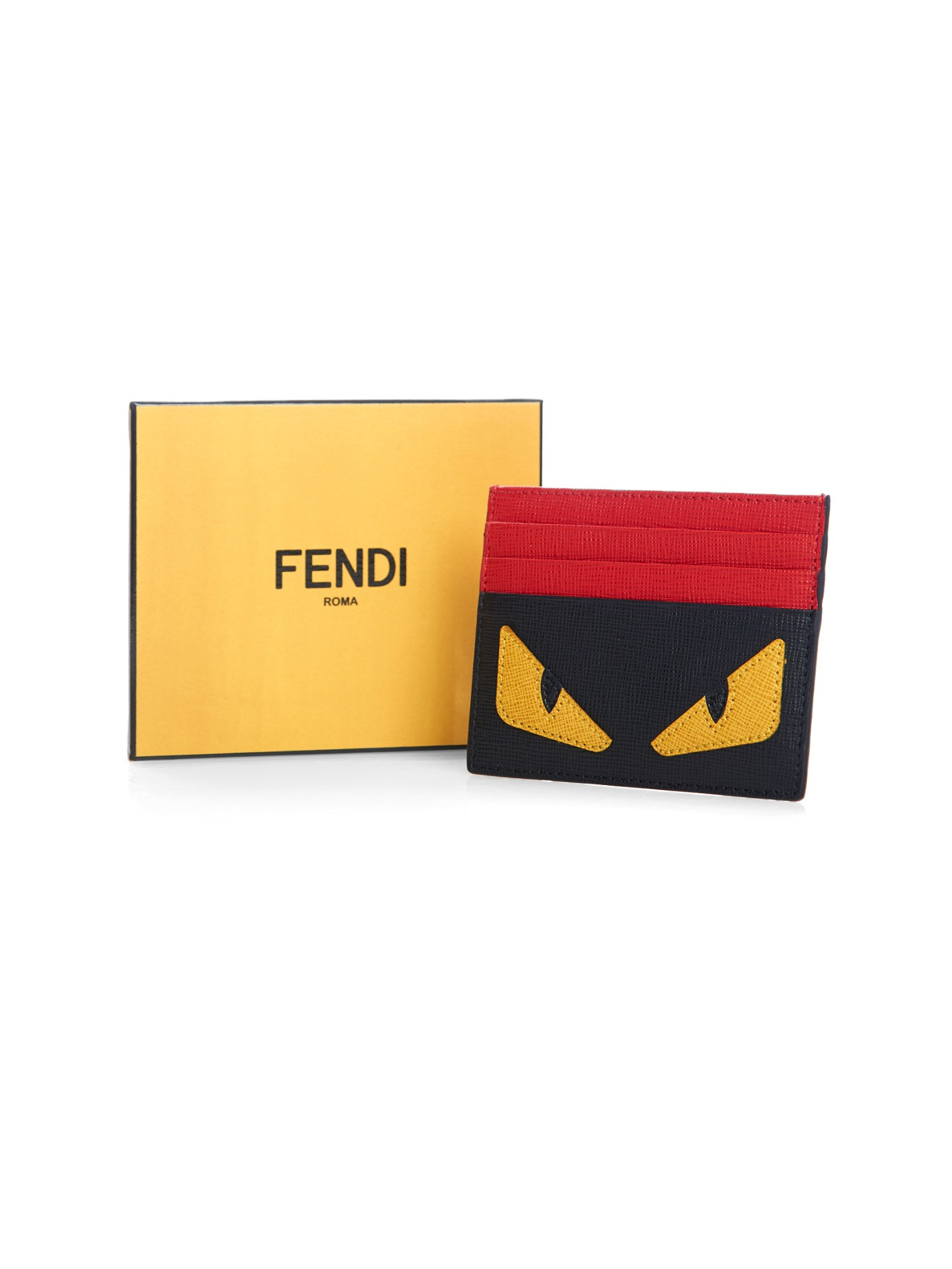 6073ca170d5e where to buy lyst fendi bag bugs leather cardholder in black for men aa0a7  42c78