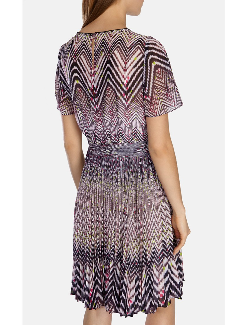 Karen Millen Zig Zag Print Dress In Brown Lyst