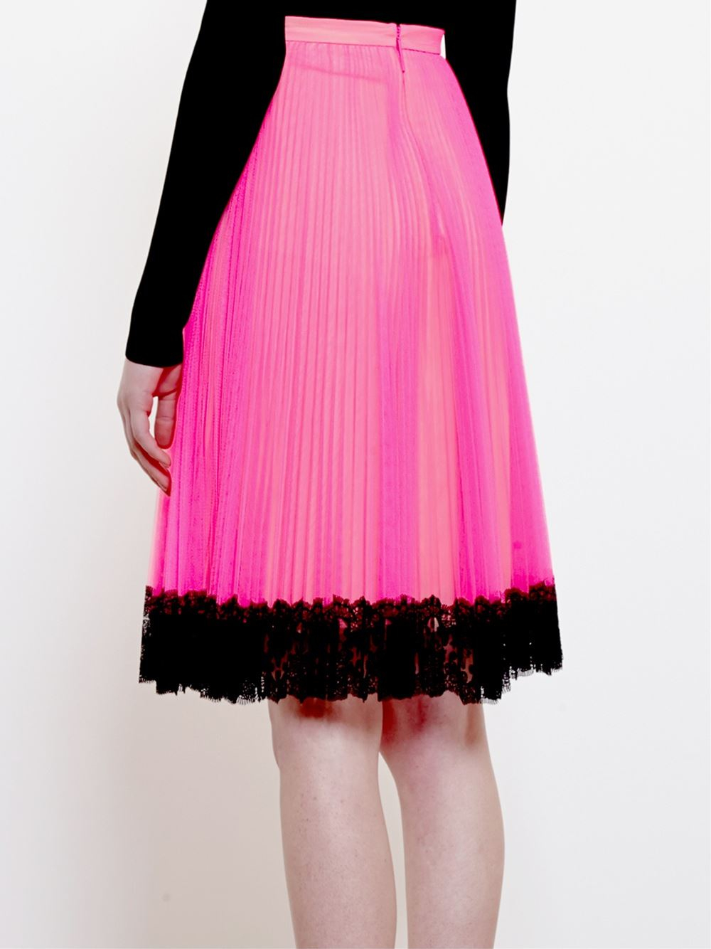 christopher pleated tulle mini skirt with lace hem in