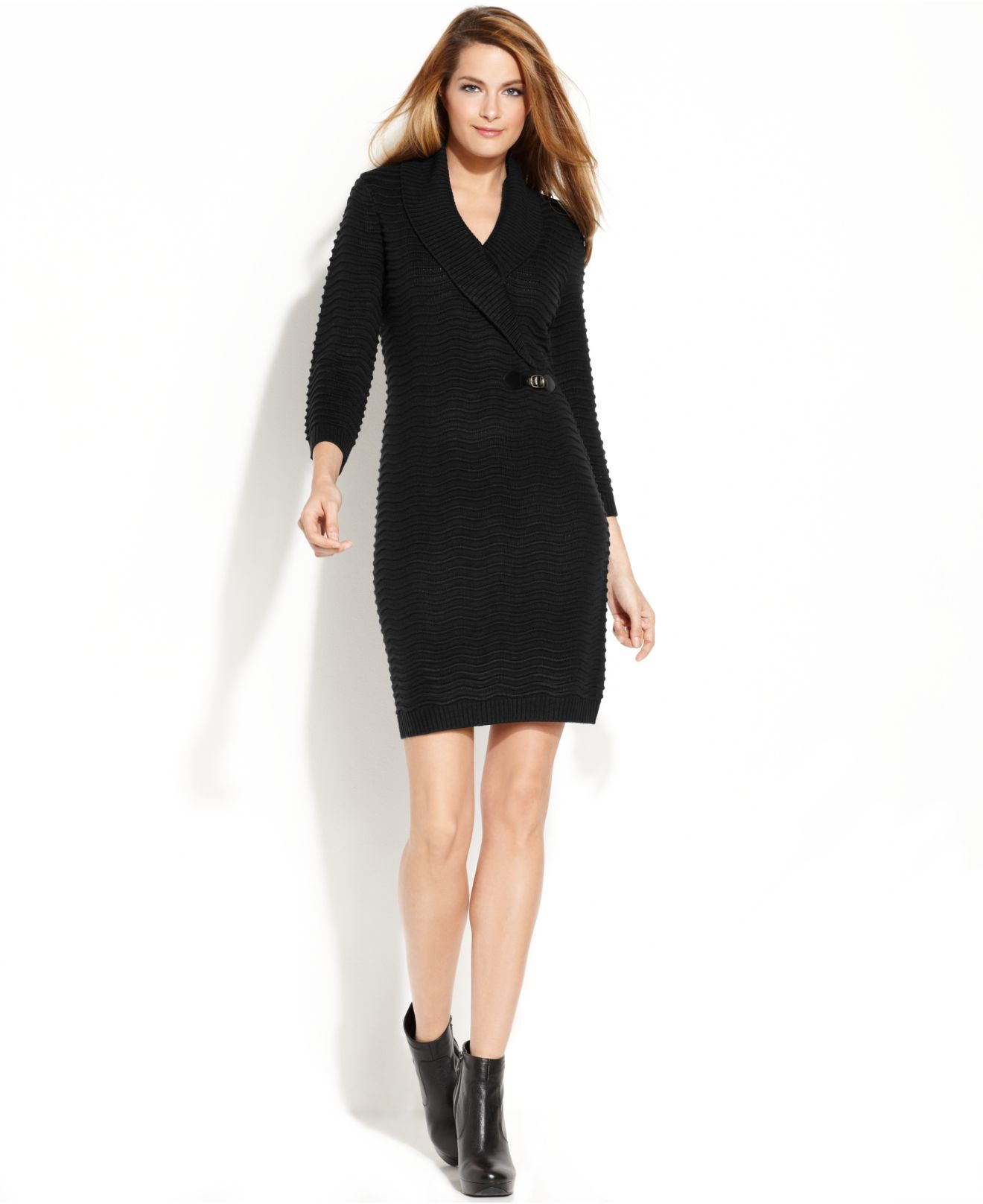 aaeccd1a5a Calvin Klein Textured Knit Sweater Dress in Black - Lyst