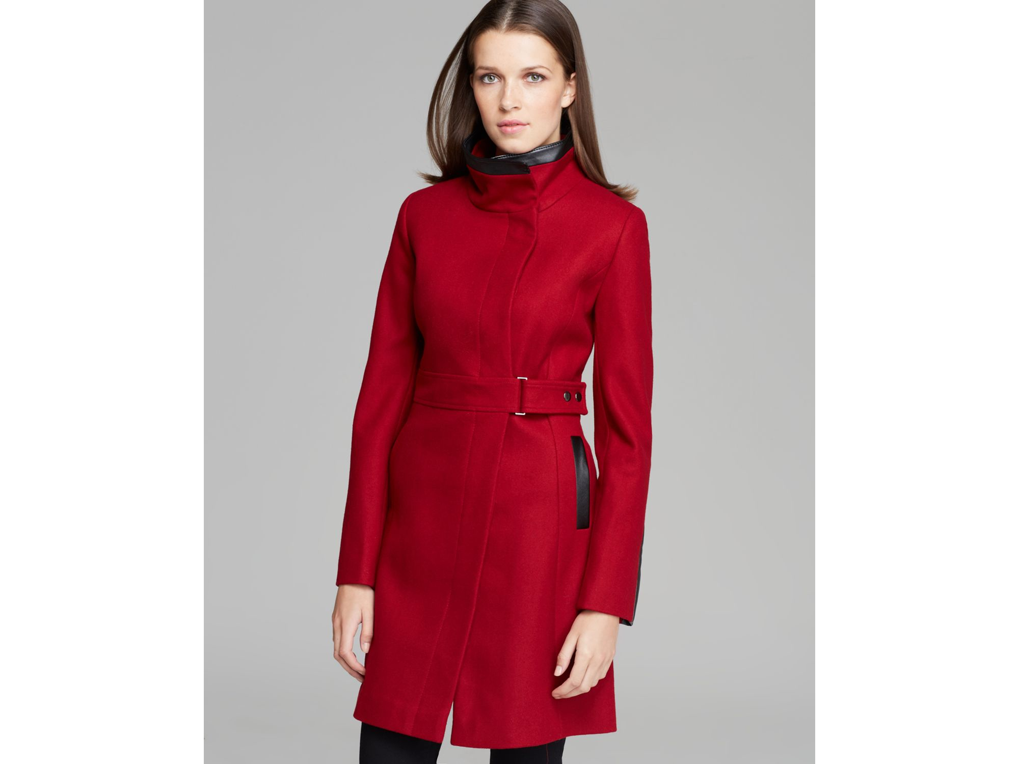 Lyst Via Spiga Coat Ly Faux Leather In Red