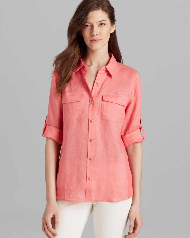35fc52a37901e Lyst - Calvin Klein Knit Insert Blouse in Pink