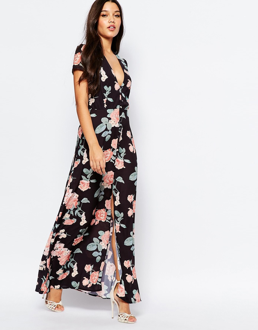 a72461a5 Oh My Love Maxi Tea Dress With Open Back - Black Floral Print in ...