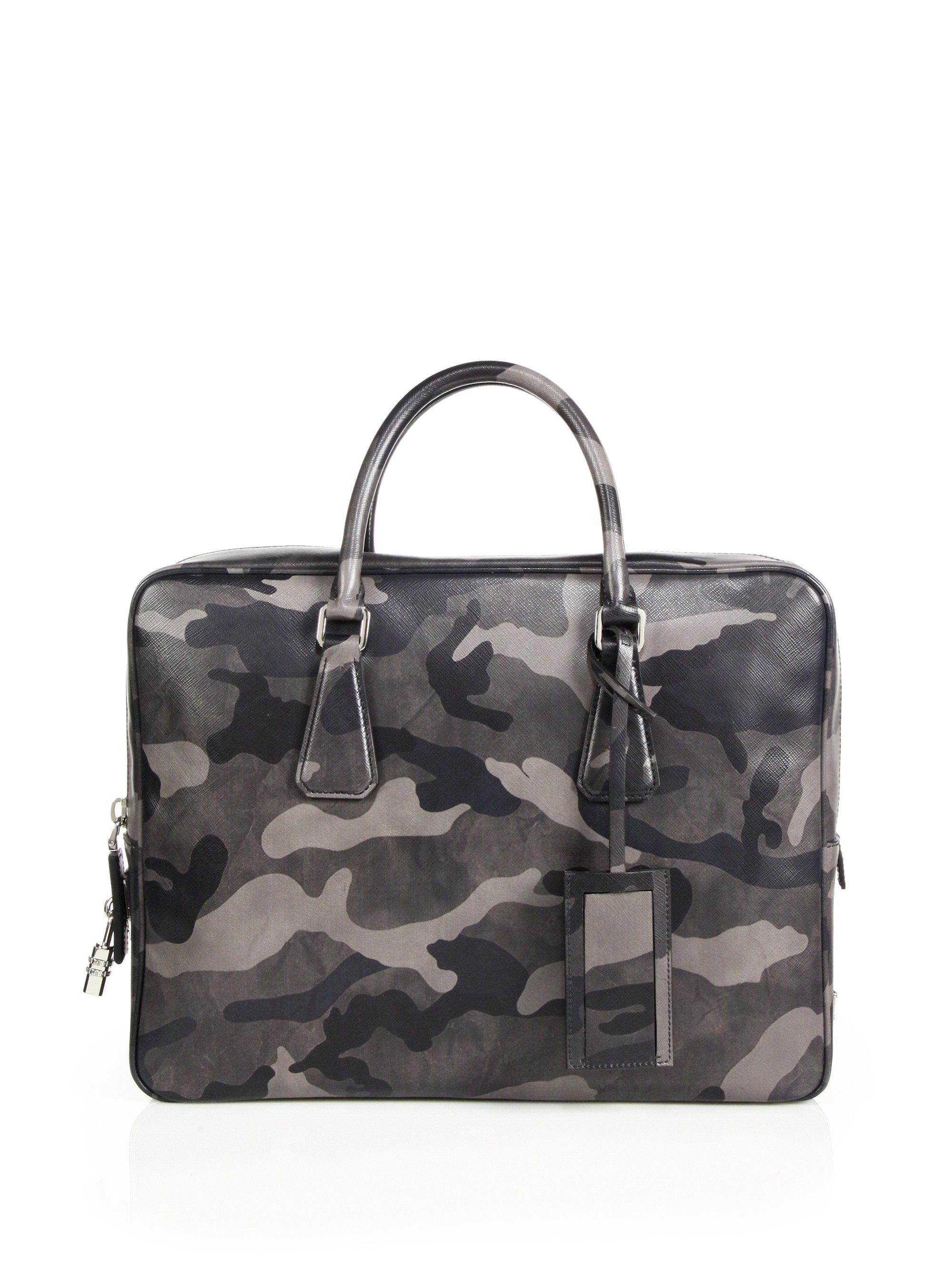93801ed2e2 Lyst - Prada Saffiano Camouflage Leather Briefcase in Gray for Men