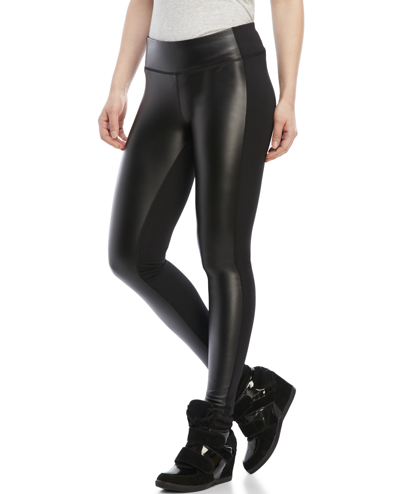 af18bf5c8ca17 90 Degree By Reflex Faux Leather Front Leggings in Black - Lyst