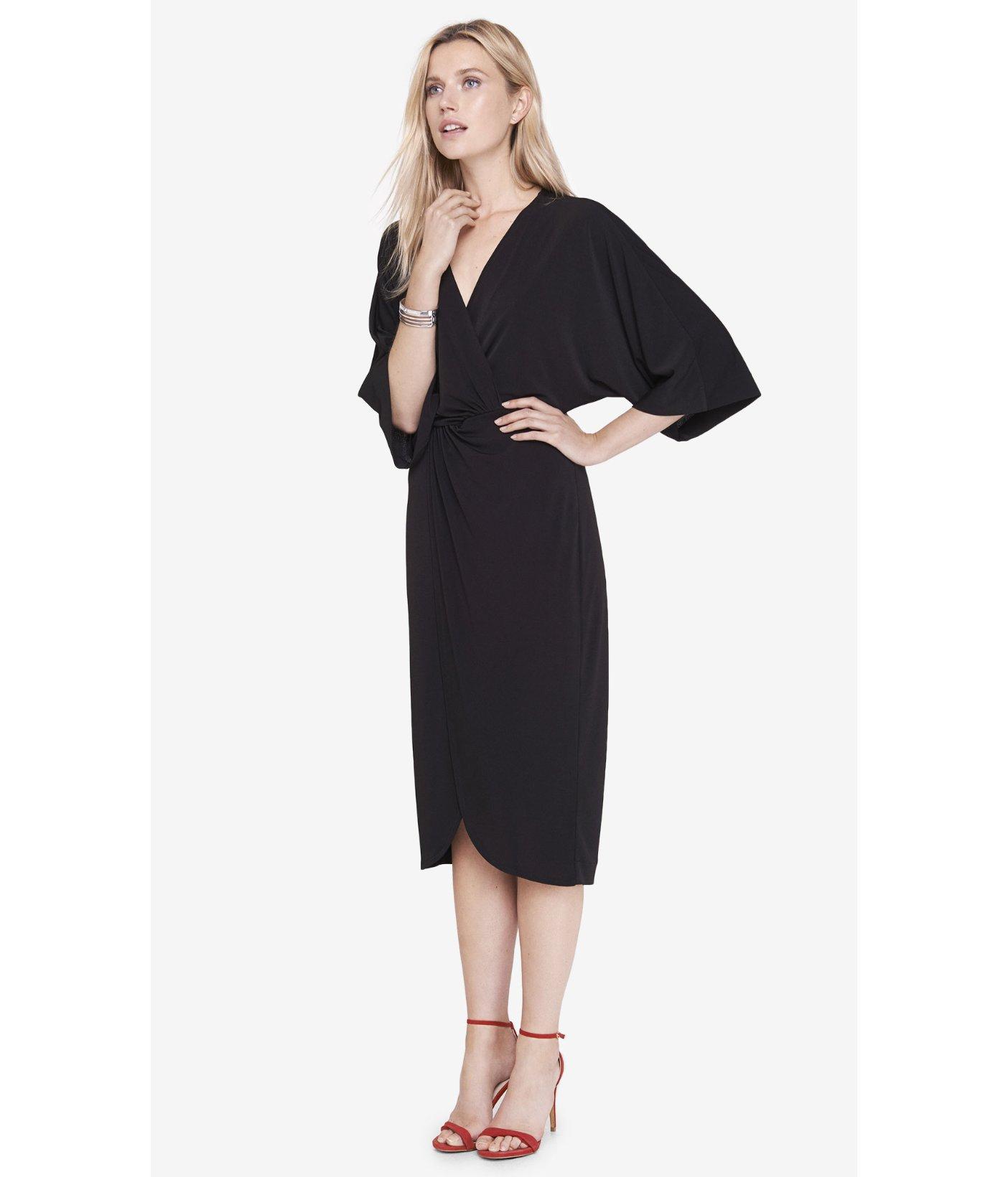 Express Black Kimono Midi Dress in Black   Lyst