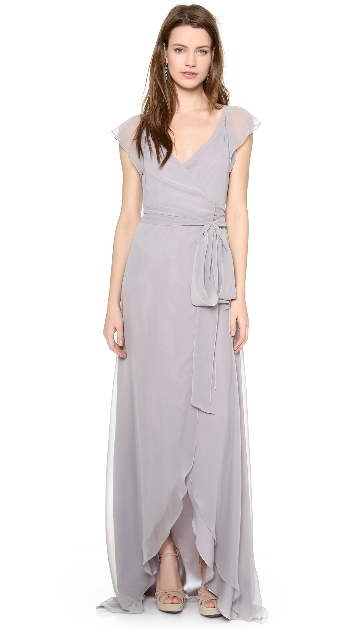 Joanna August Dorian Ruffle Sleeve Wrap Dress In Silver