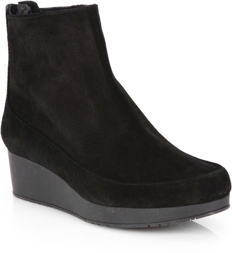 robert clergerie stretch suede platform wedge ankle boots