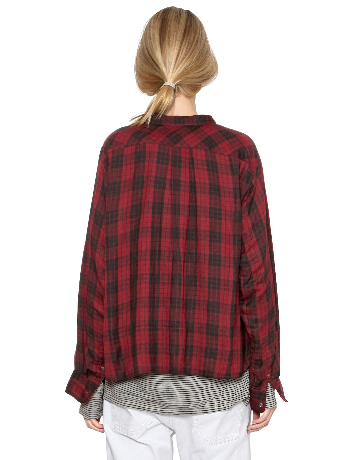 toile isabel marant plaid cotton flannel shirt in red lyst. Black Bedroom Furniture Sets. Home Design Ideas