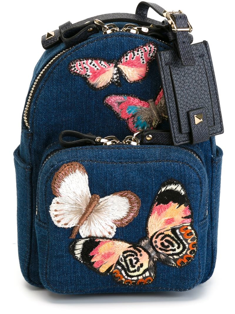 Valentino Small Embroidered Butterfly Backpack In Blue Lyst