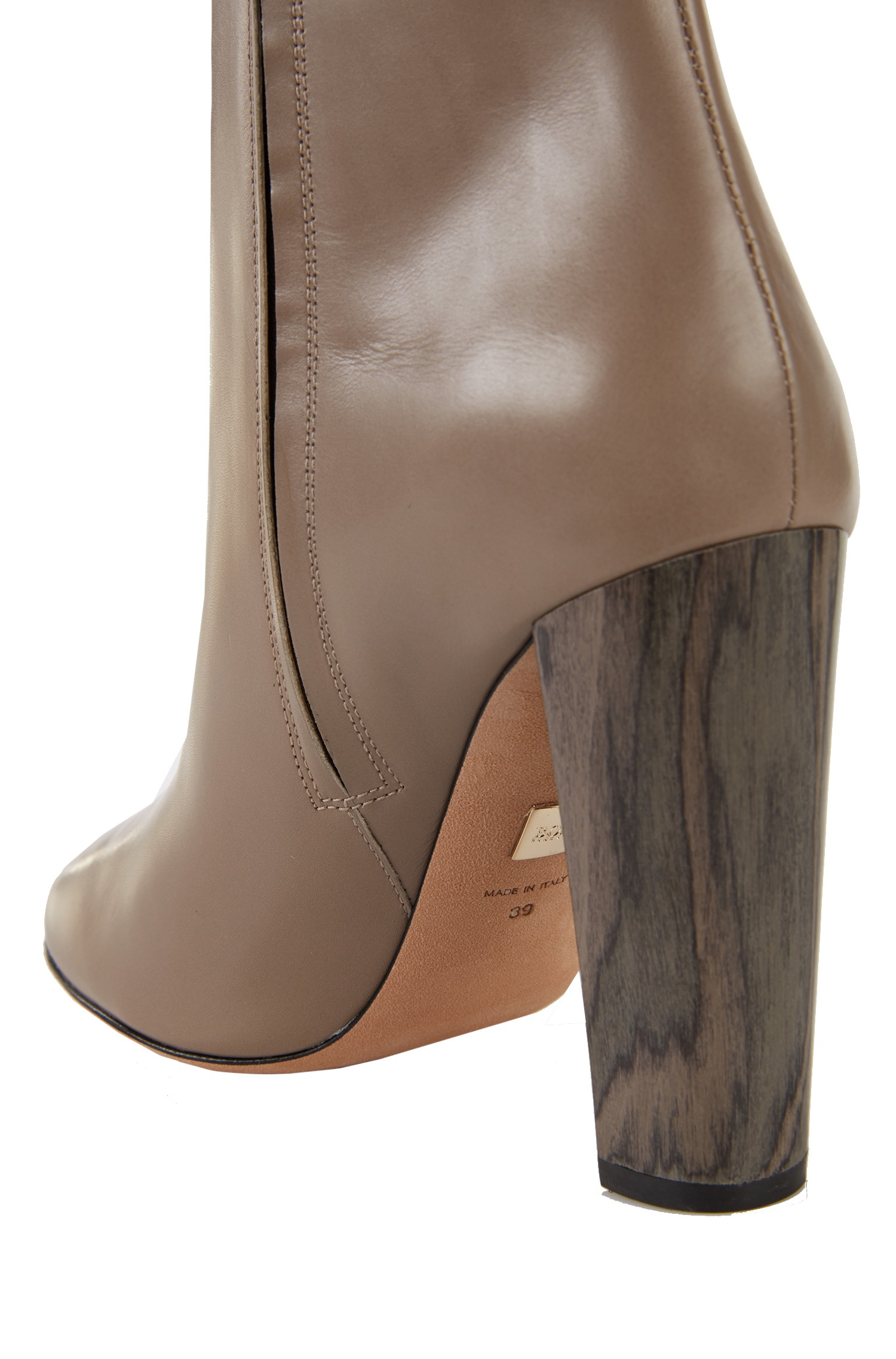 Leather Chunky Heel Boots