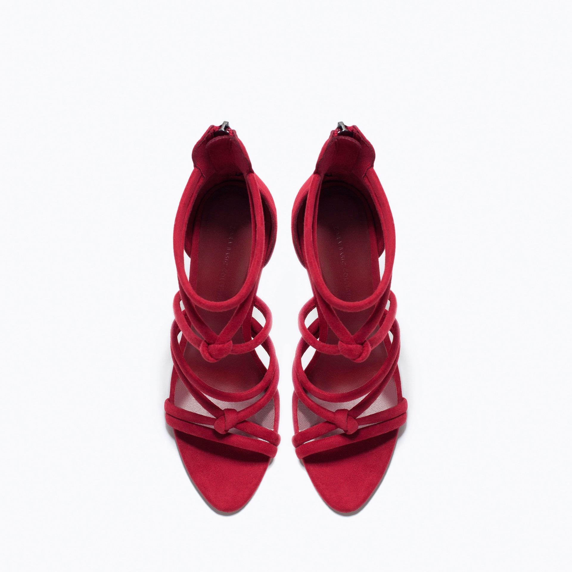 Zara Knotted High Heel Sandals In Purple Burgundy Lyst