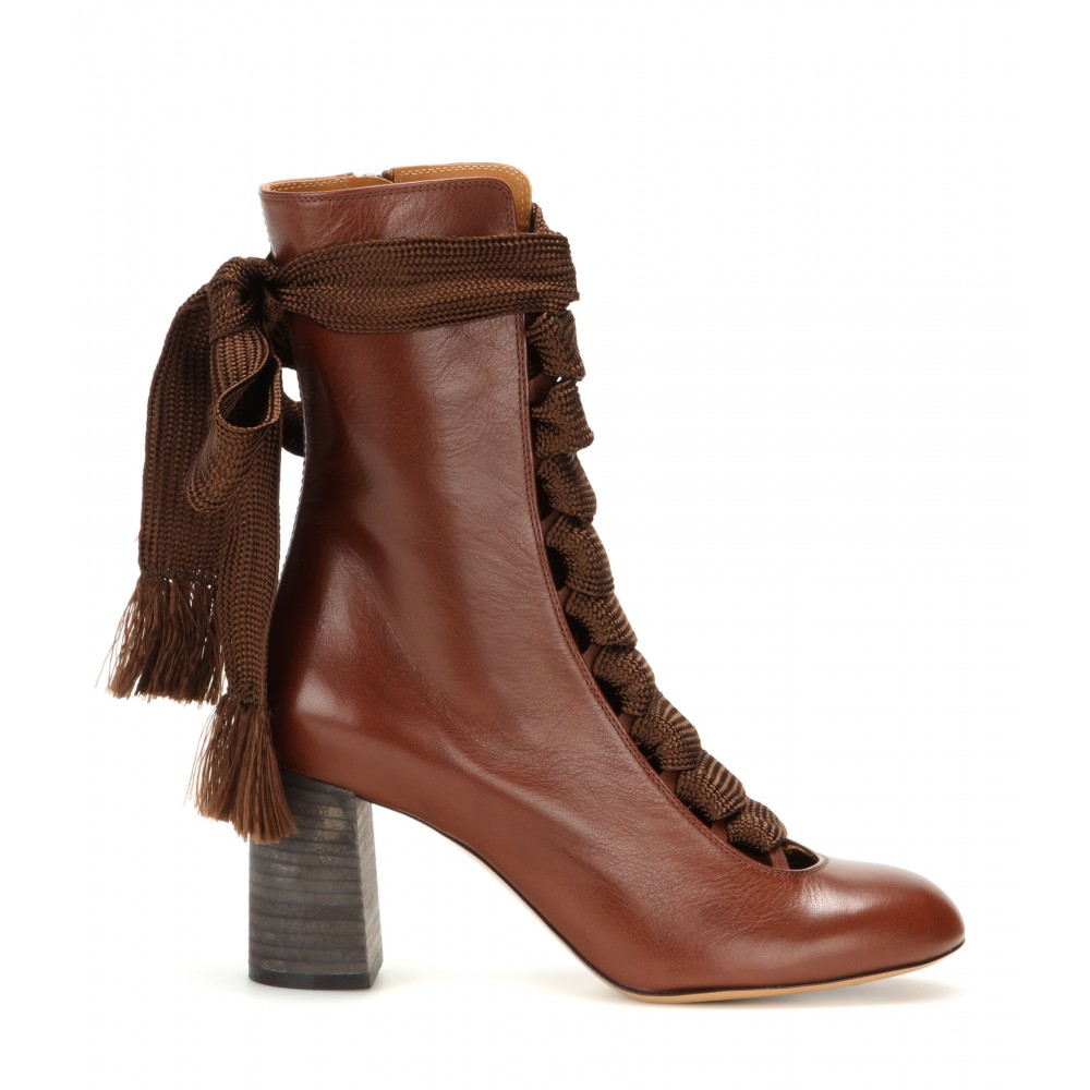 Chlo 233 Leather Boots In Brown Lyst