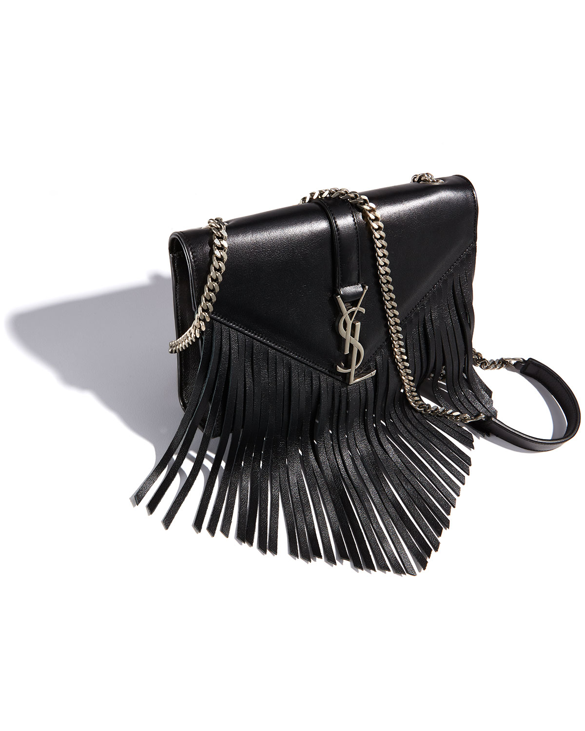 lyst saint laurent monogram small fringe shoulder bag in black. Black Bedroom Furniture Sets. Home Design Ideas