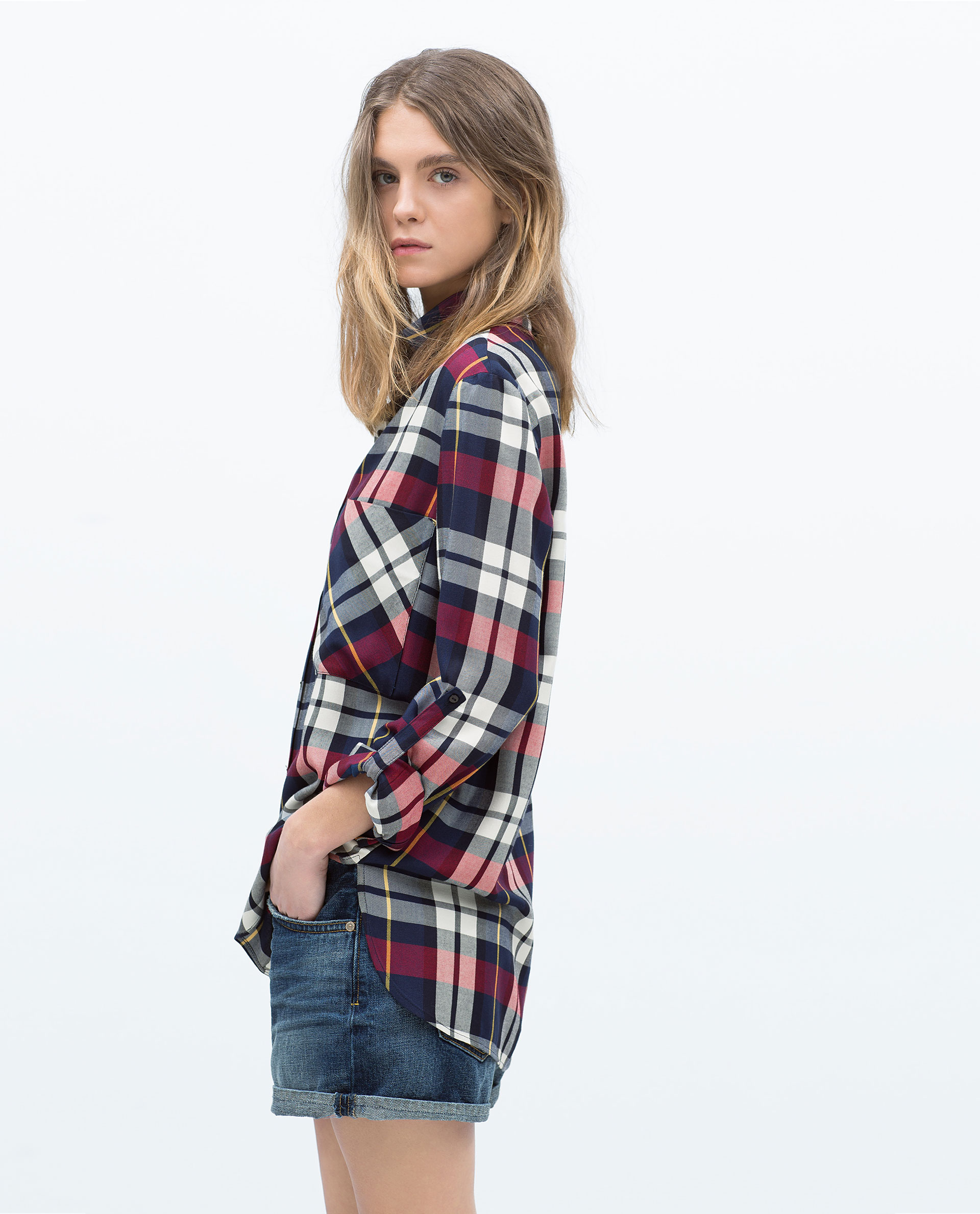 Zara plaid shirt in red lyst for Dark red plaid shirt