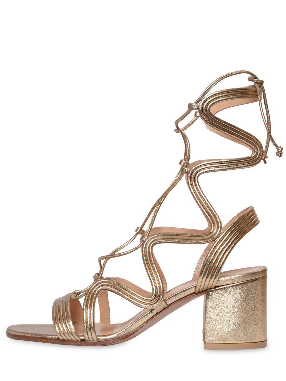 7d699448e Gianvito Rossi 60mm Metallic Leather Gladiator Sandals in Metallic ...