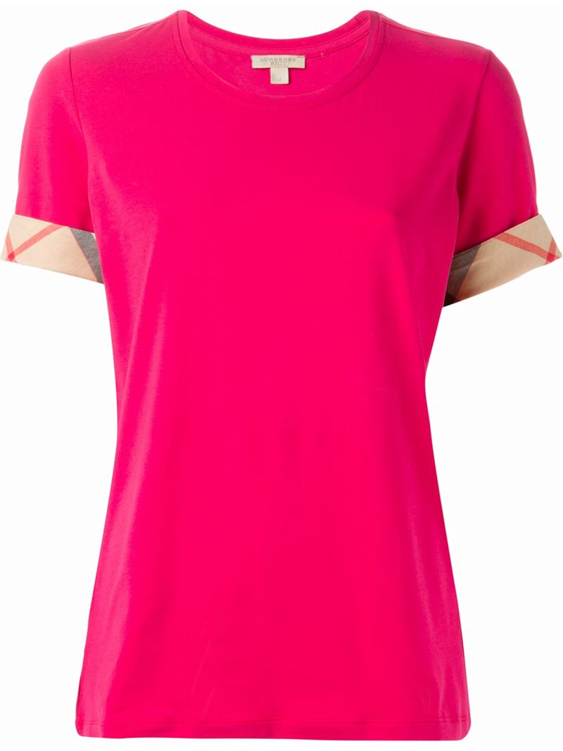 lyst burberry brit 39 house check 39 cuffs t shirt in pink. Black Bedroom Furniture Sets. Home Design Ideas