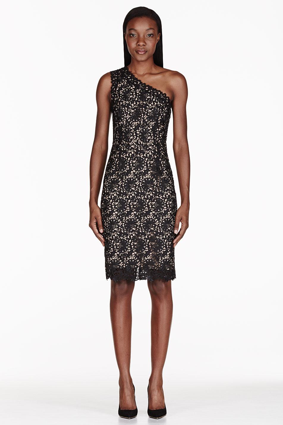 One Shoulder Black Lace Dresses