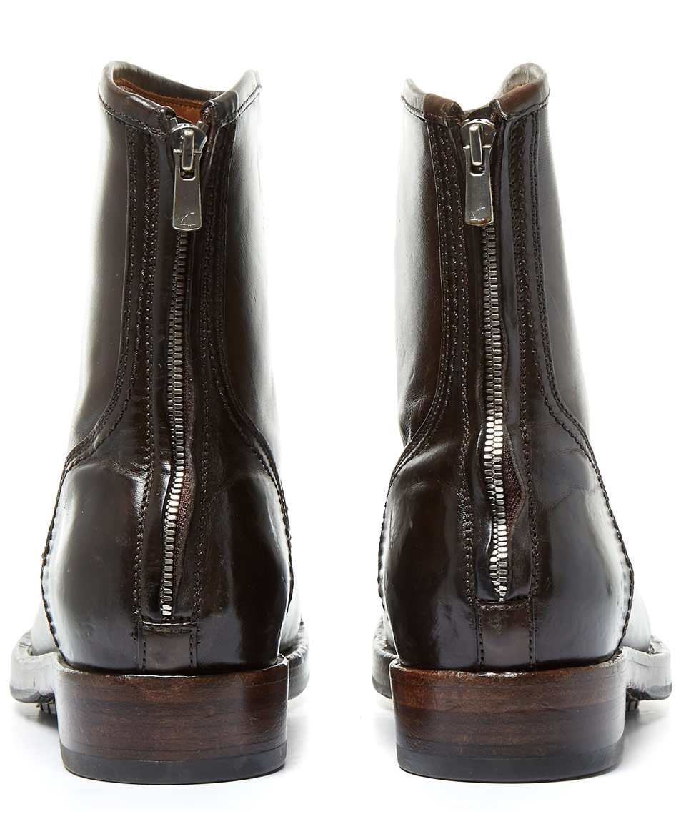 officine creative brown lowry zip back leather boots in