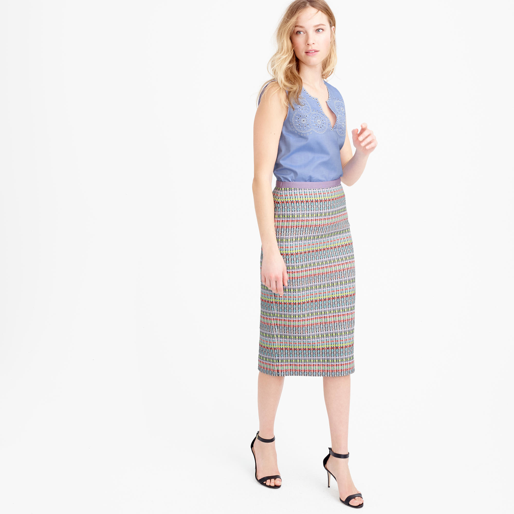 abc9b976a6 J.Crew Collection Neon And Metallic Tweed Pencil Skirt in Gray - Lyst