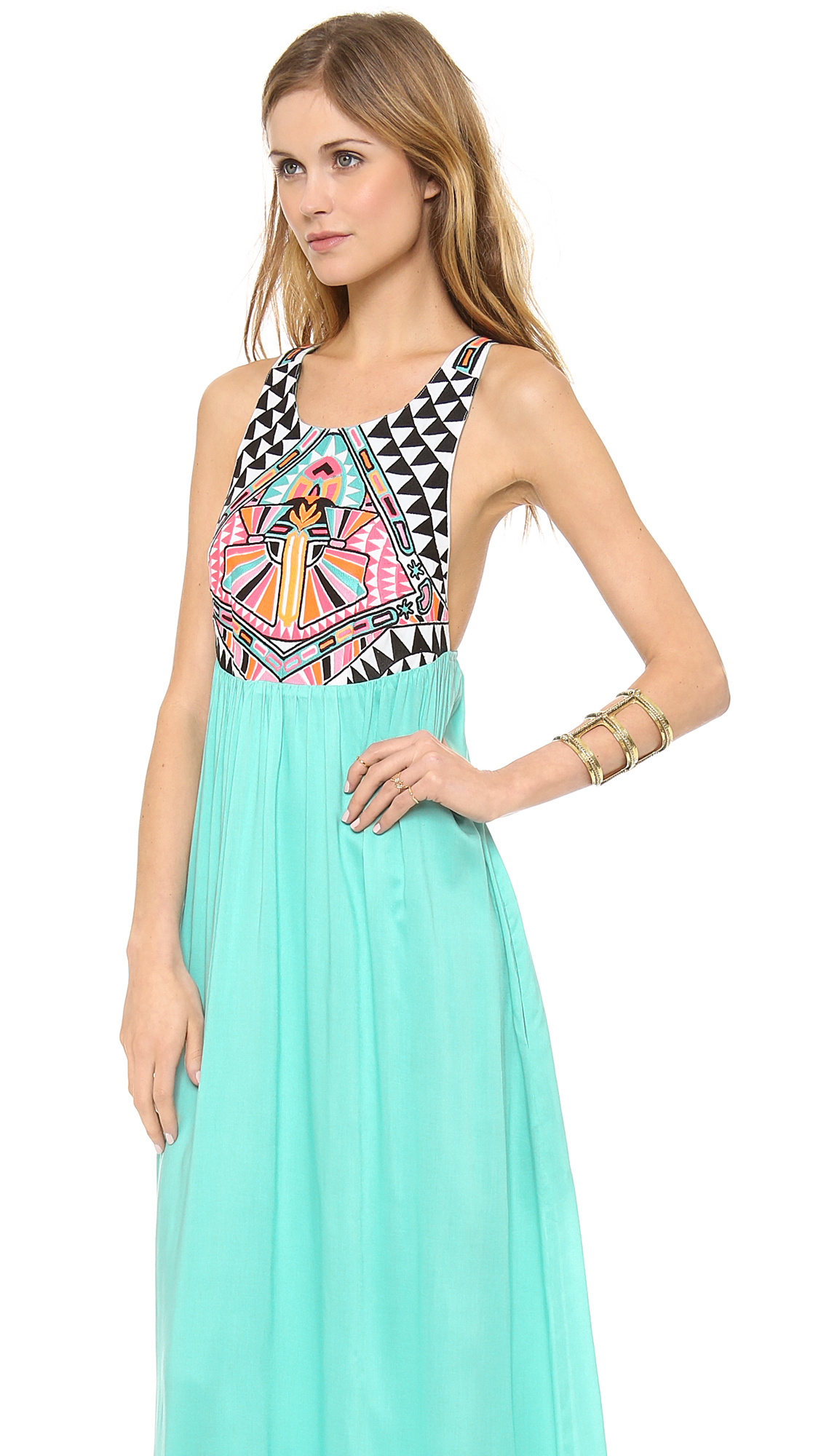 80ecfef43117 Lyst - Mara Hoffman Cosmic Fountain Embroidered Maxi Dress Turquoise ...