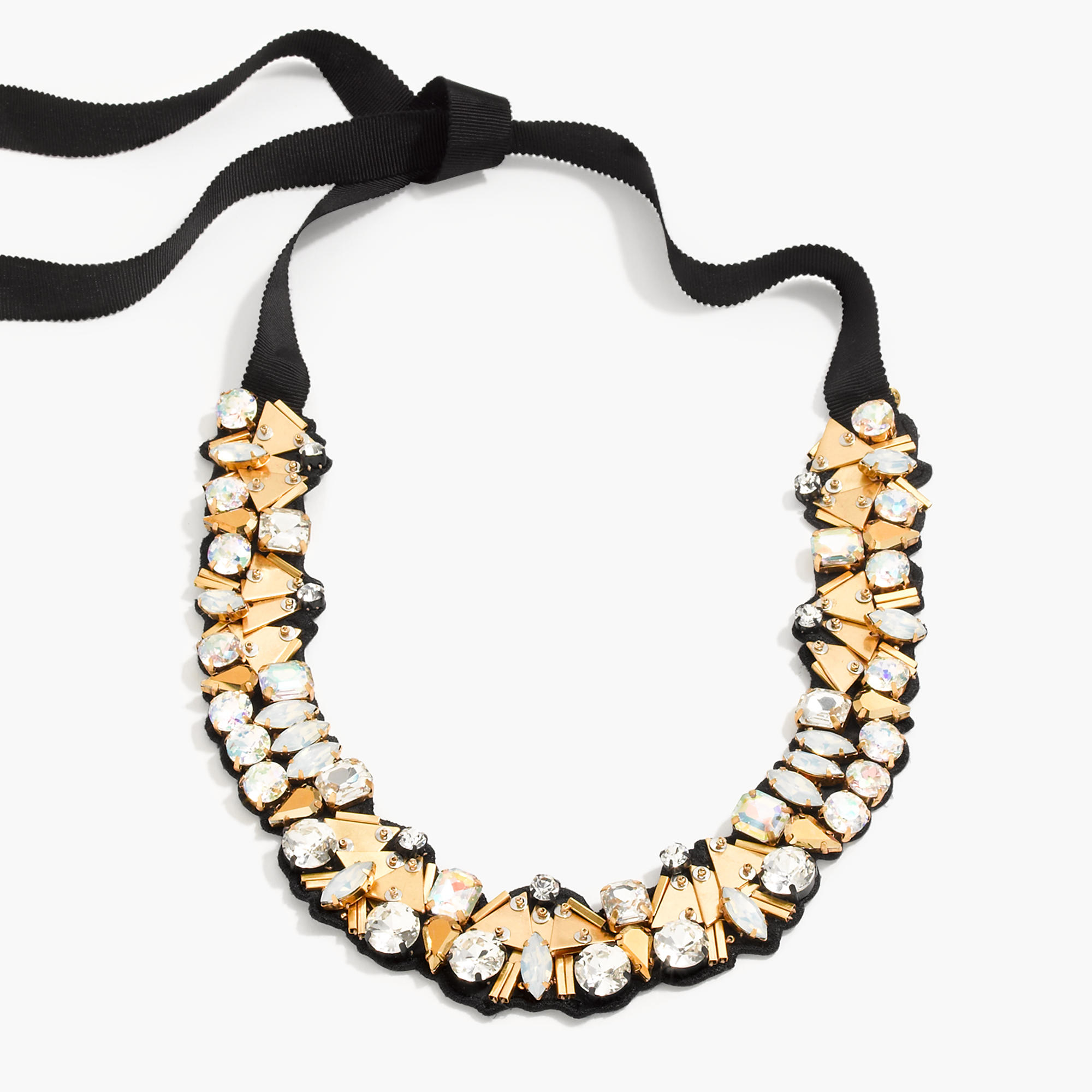 11c09ce6910 Lyst - J.Crew Bead And Crystal Fabric-backed Necklace in Metallic