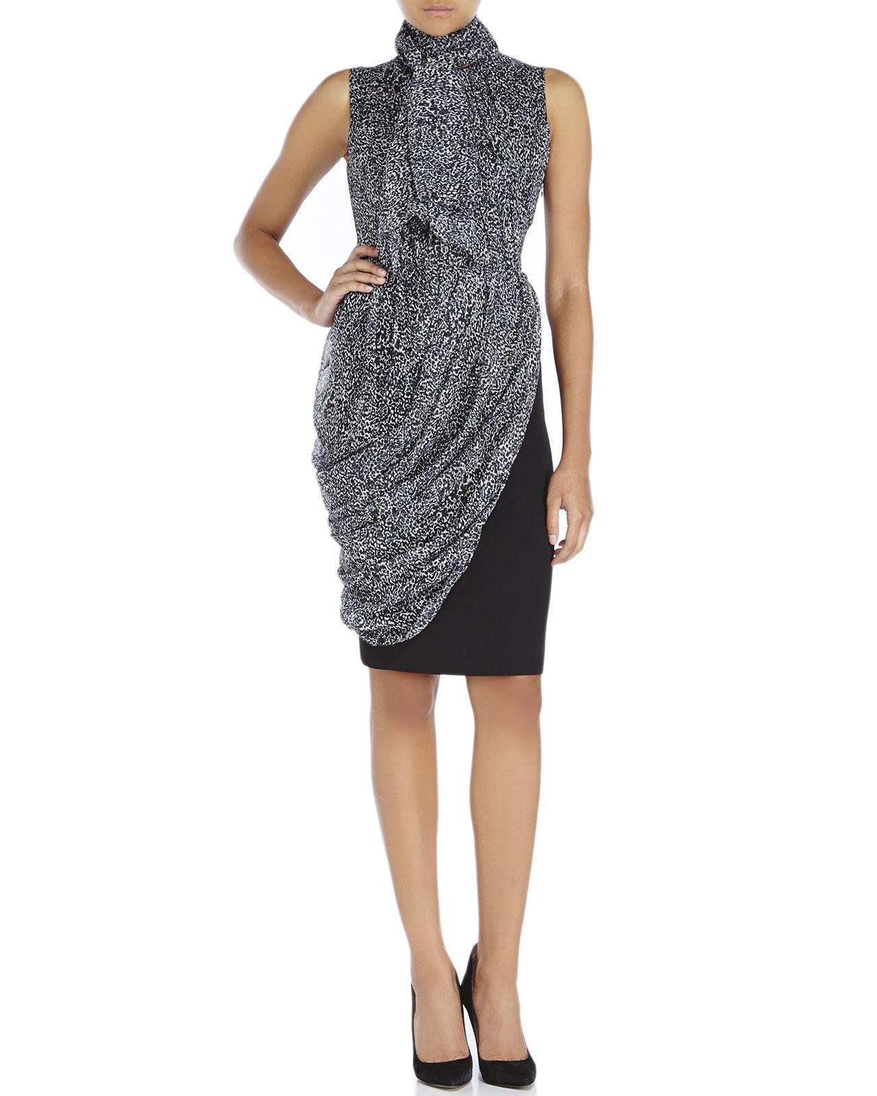 5925a7dd1b Lyst - Giambattista Valli Animal Print Scarf Dress in Black