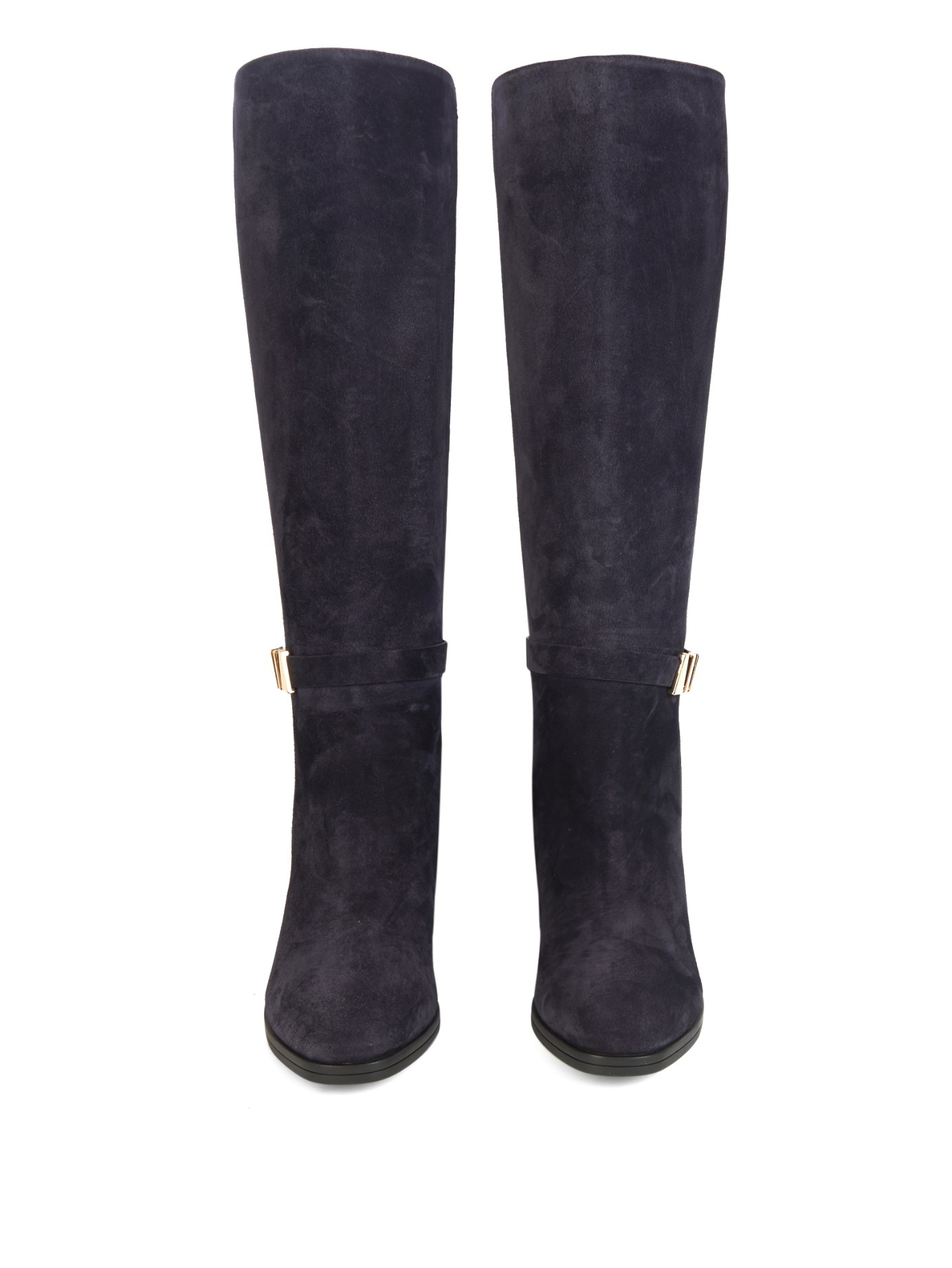 tod s gomma suede knee high boots in blue lyst