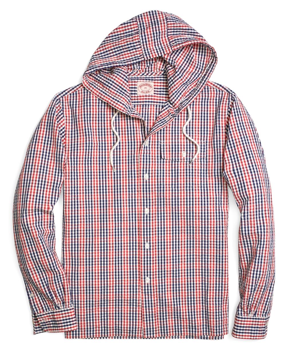 Brooks brothers seersucker check hooded sport shirt for for Brooks brothers sports shirts