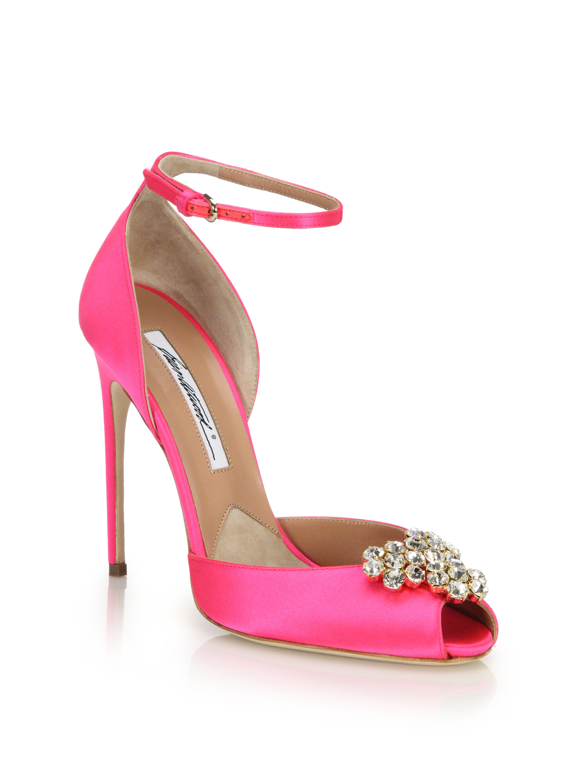 Lyst - Brian Atwood Embellished Satin Peep-toe Sandals in Pink 6c7e07504
