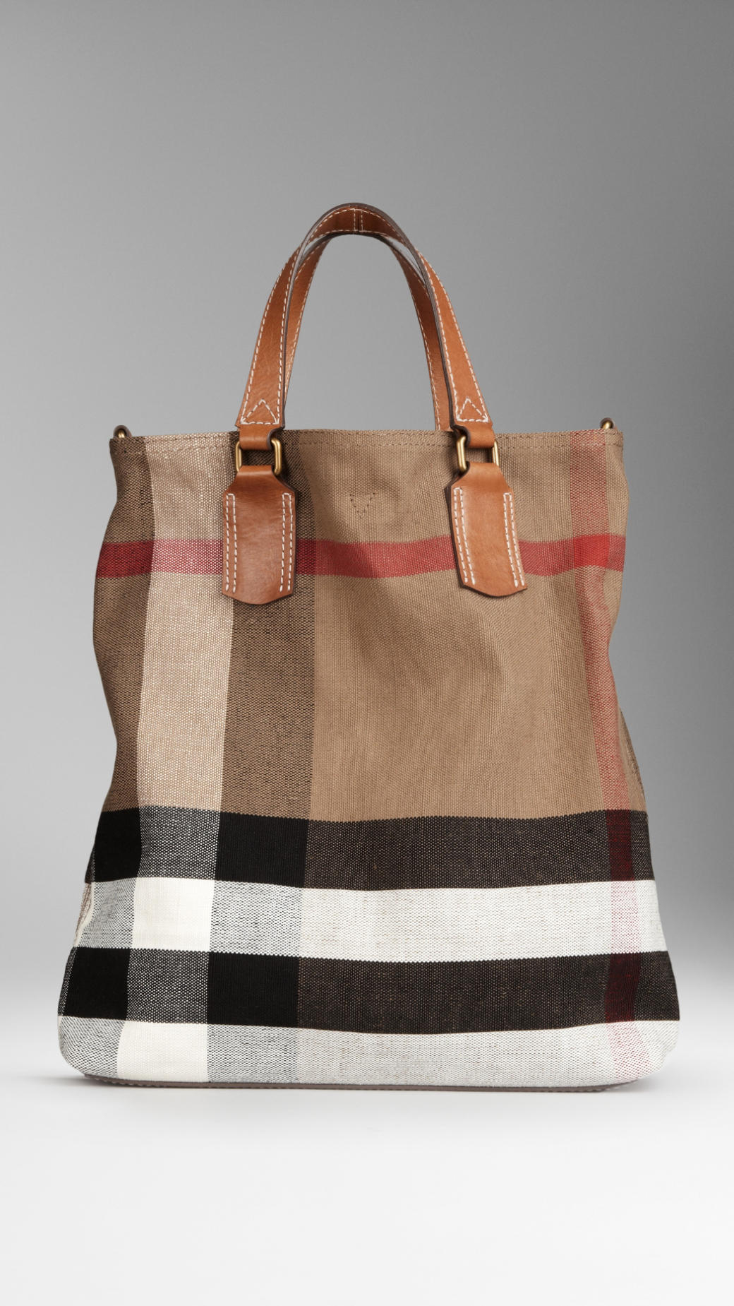 Burberry Medium Canvas Check Tote Bag In Brown Lyst