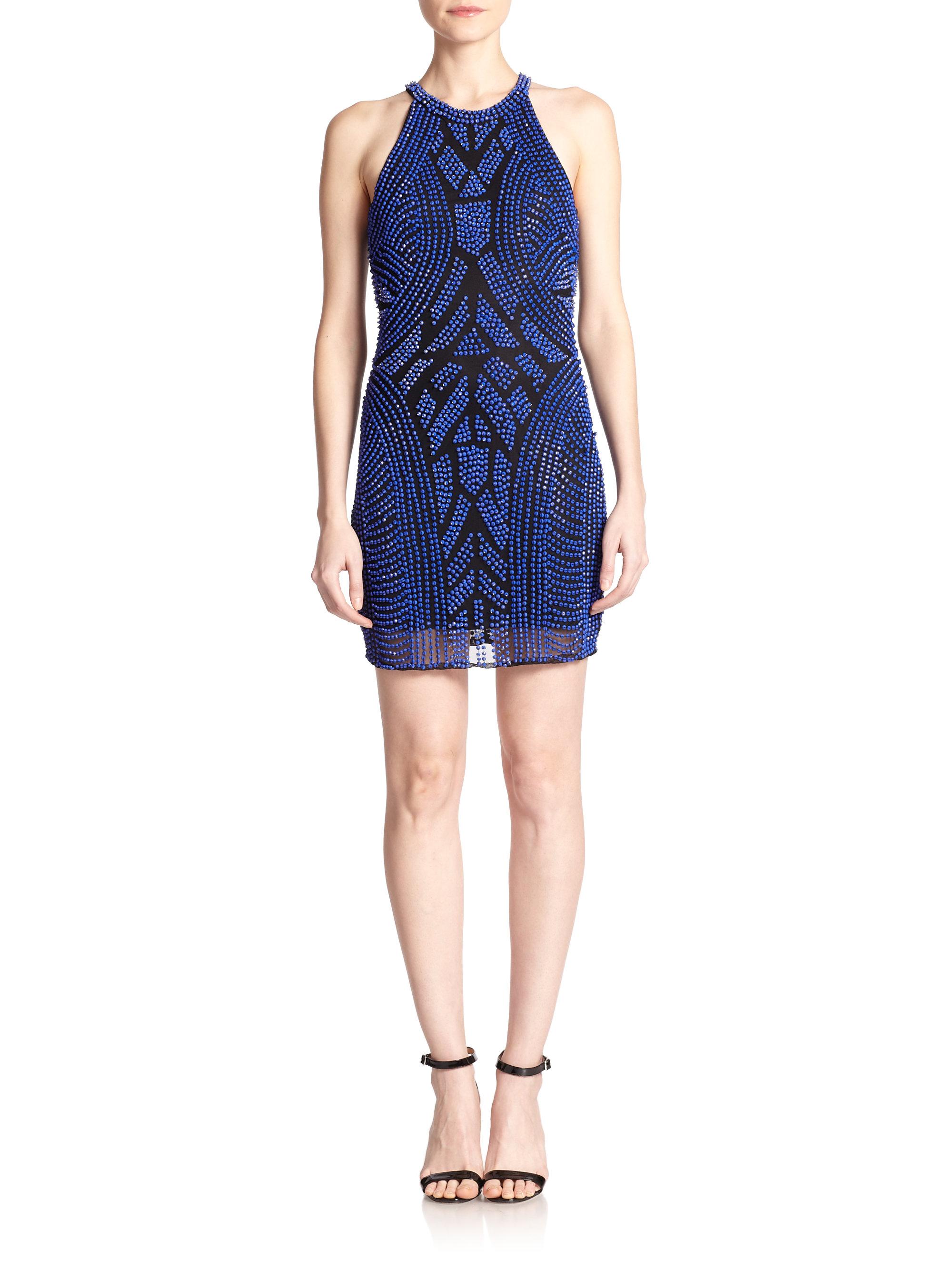 d36d69a3b12 Lyst - Parker Audrey Beaded Halter Dress in Blue