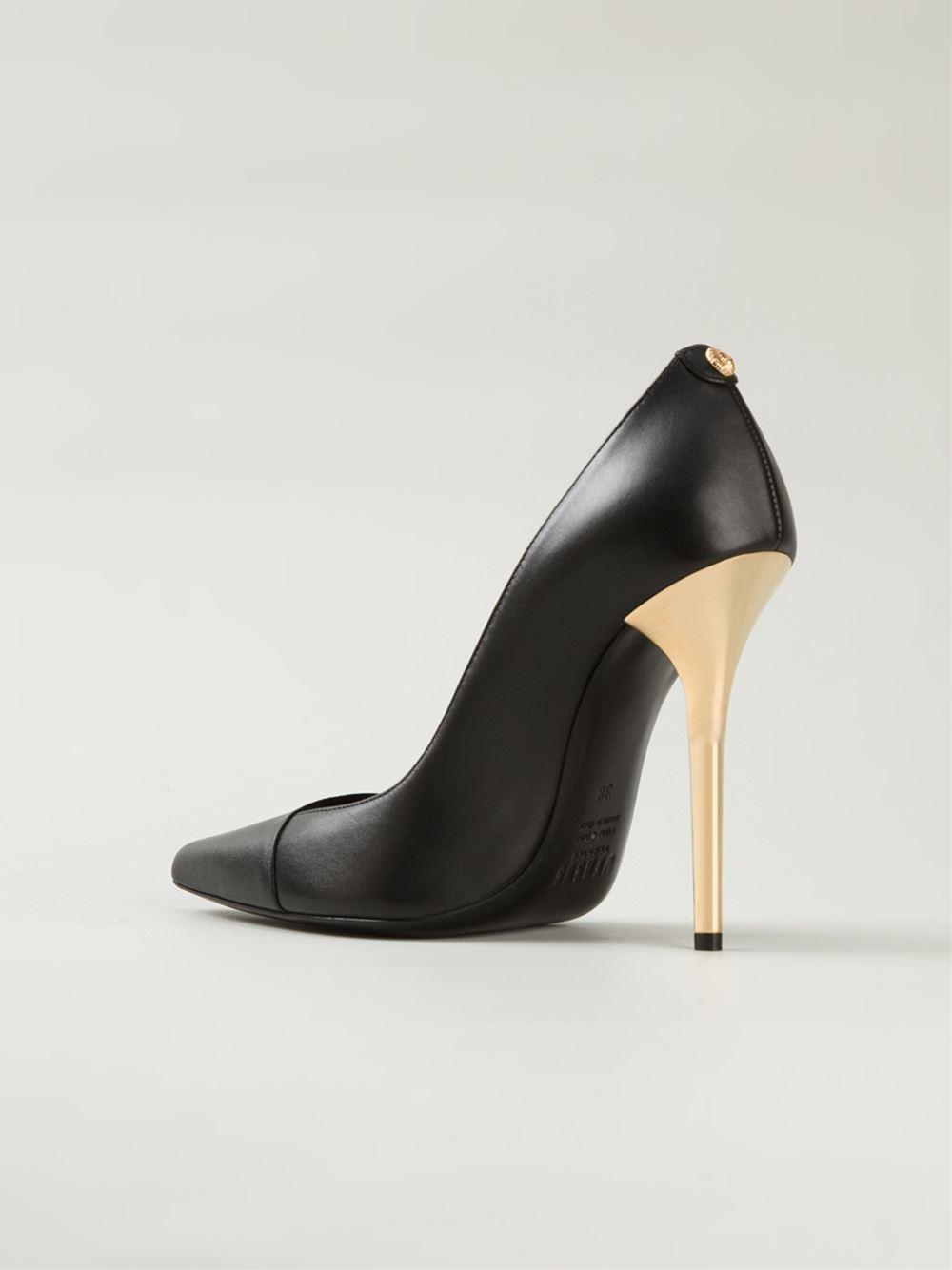 Lyst - Versus Gold Stiletto Heel Pumps in Black