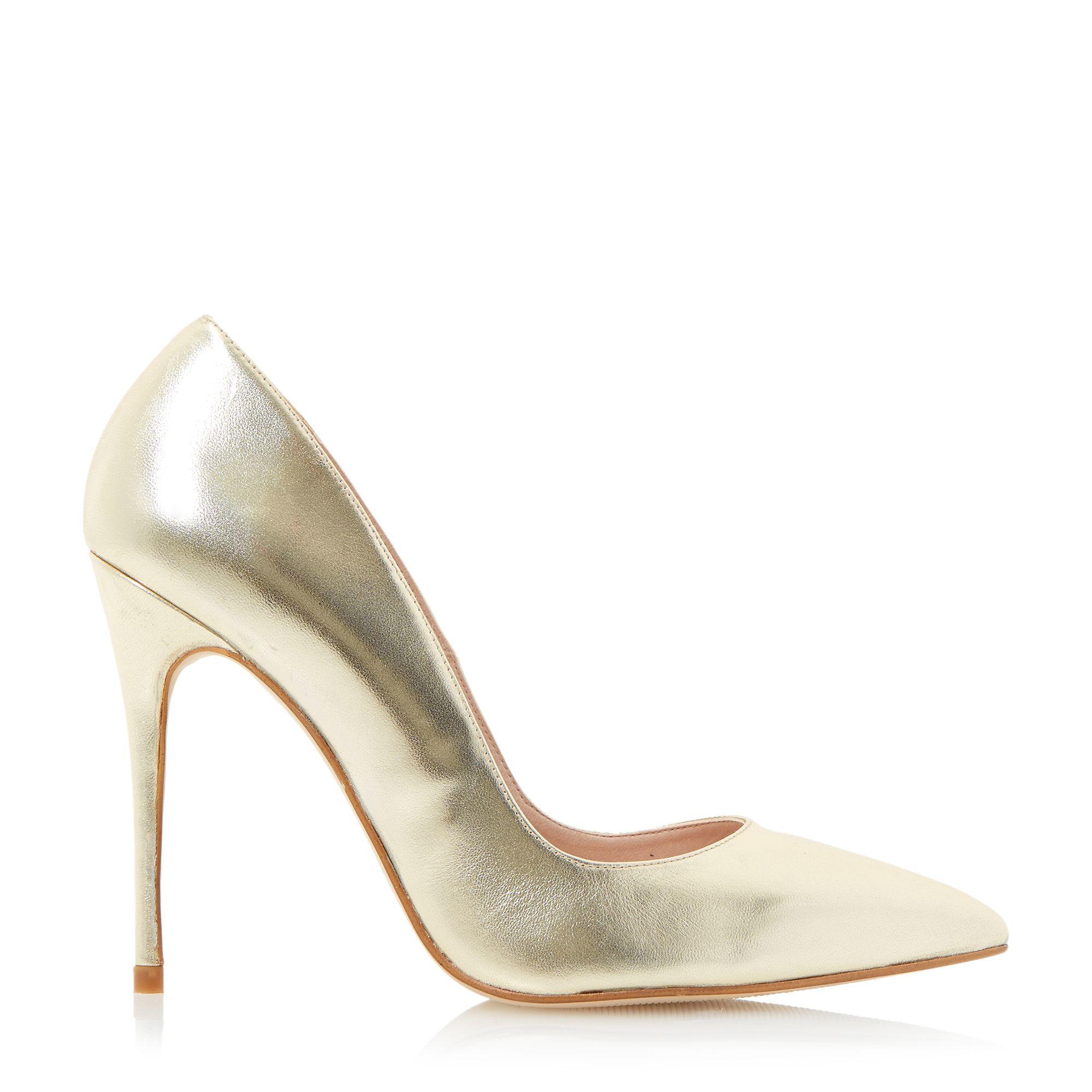 dune allegra pointed high heel court shoes in metallic lyst