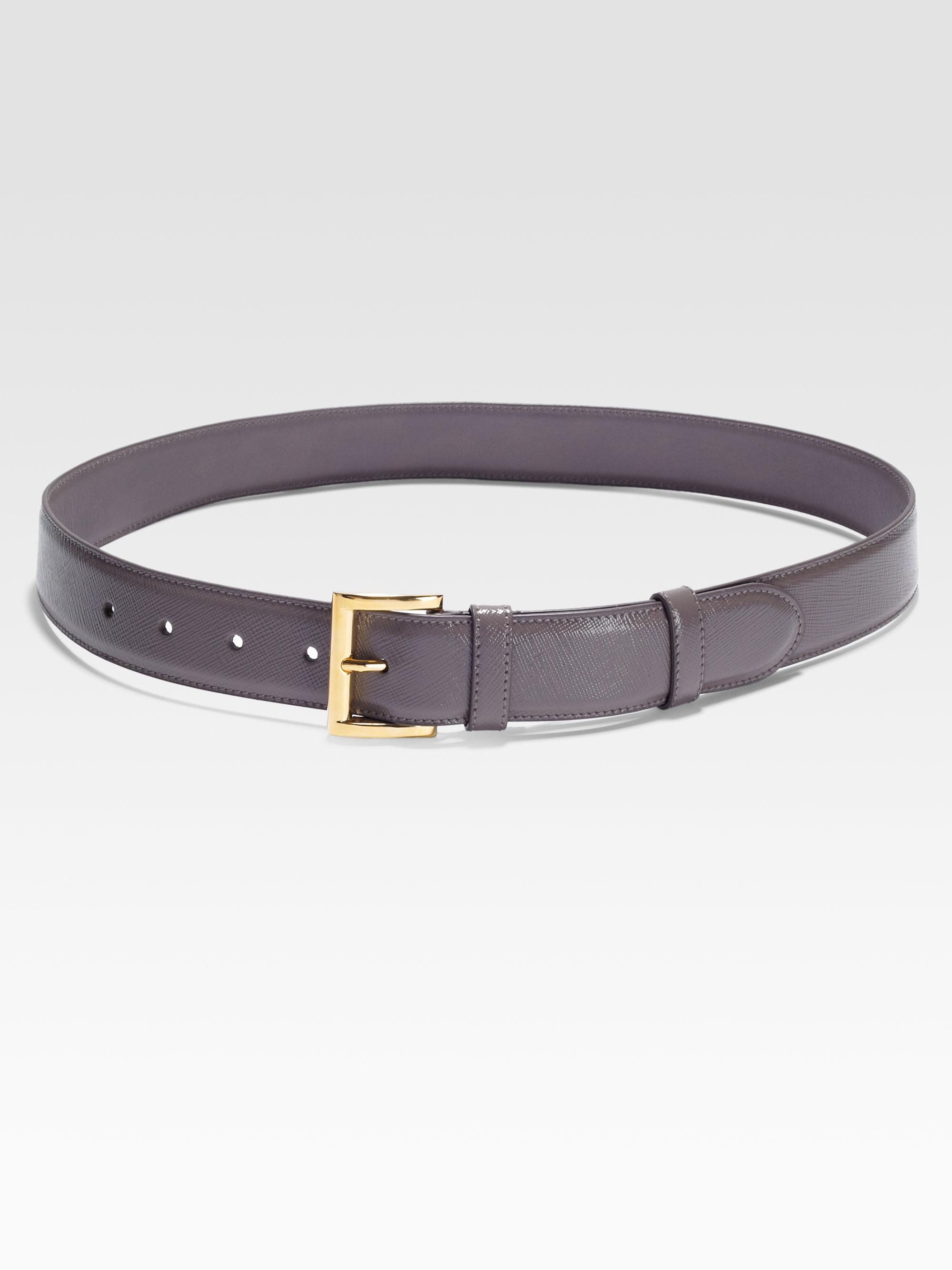 Prada Vernice Saffiano Leather Belt in Gray (grey) | Lyst