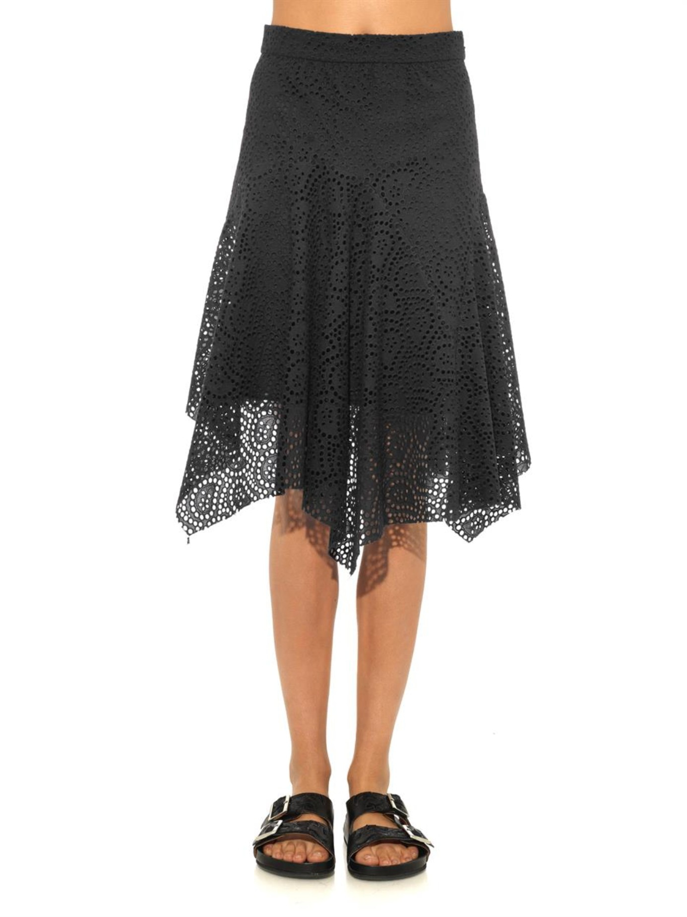 fa5a1916a0c Isabel Marant Volta Embroidered Cotton Skirt in Black - Lyst