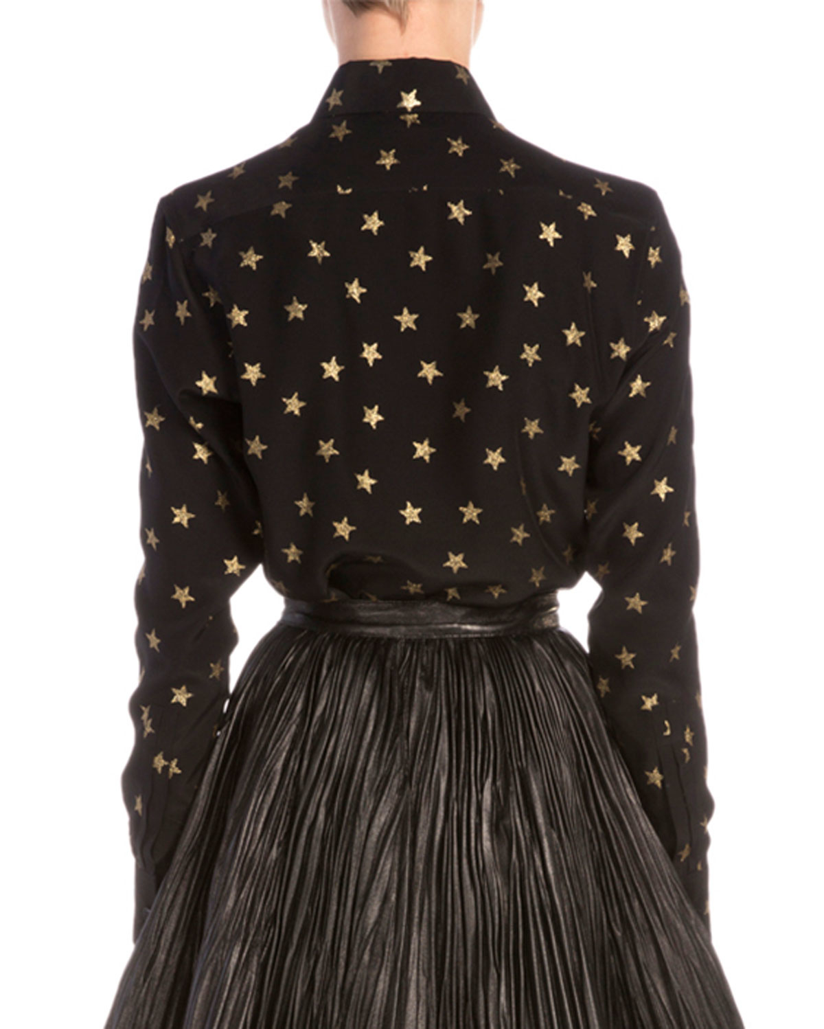 Saint laurent Gold Star-print Button Blouse in Black | Lyst