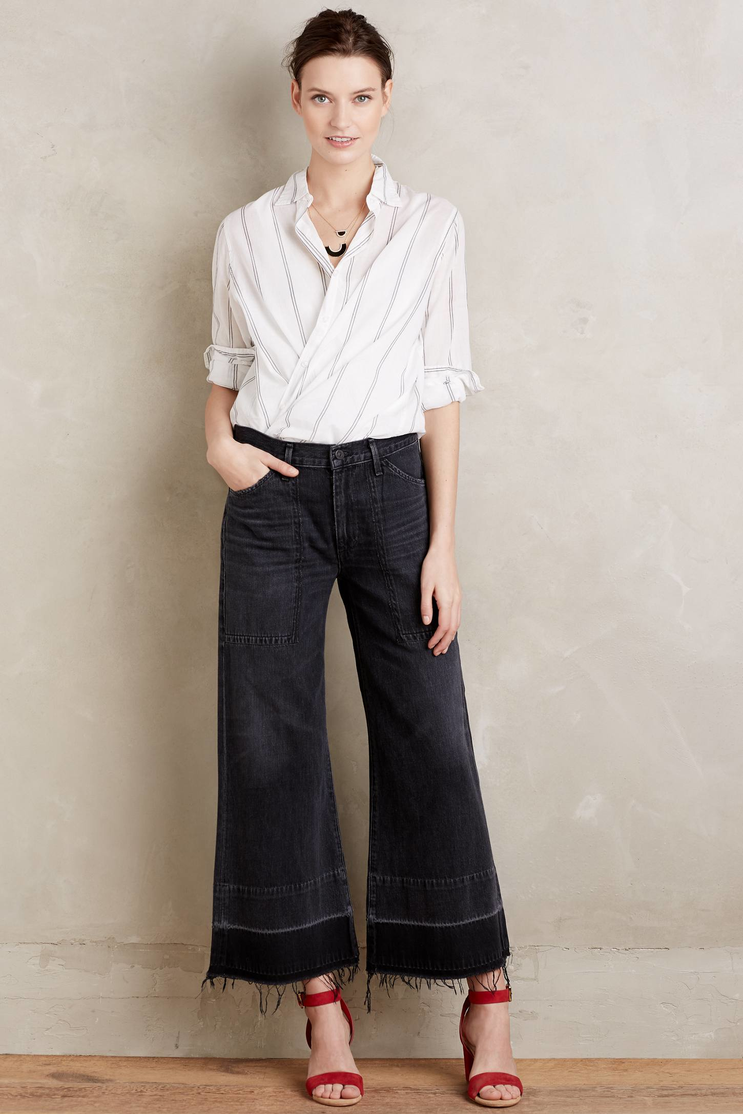 Citizens of humanity Melanie Wide-leg Crop Jeans in Black | Lyst