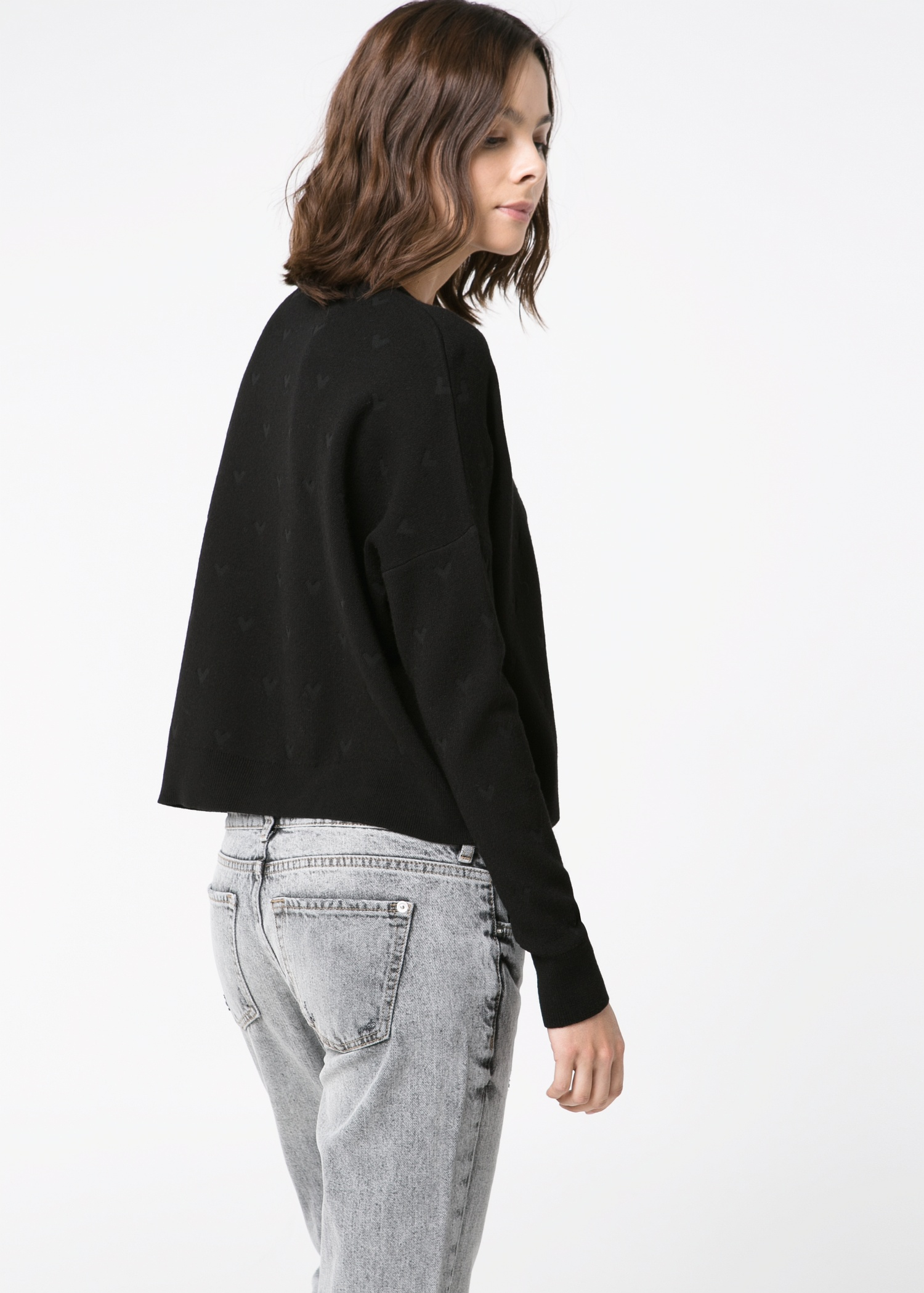 Mango Heart-Texture Cropped Sweater in Black | Lyst